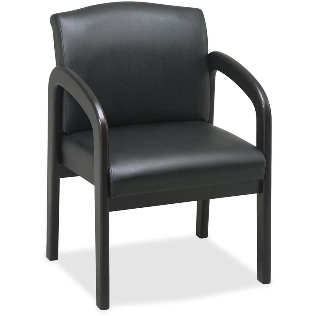 CHAIR,GUEST,FAUX LEA,BLK
